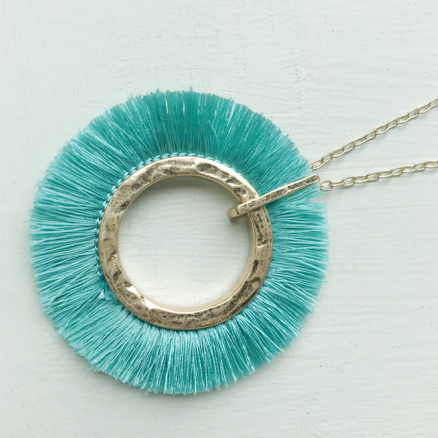 Silk Fringe Circle Necklace