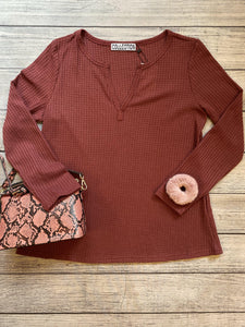Vneck Waffle Knit Top