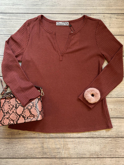 Vneck Waffle Knit Top-Top-Mooi Nu Collection-Small-Burgundy-9Lilas