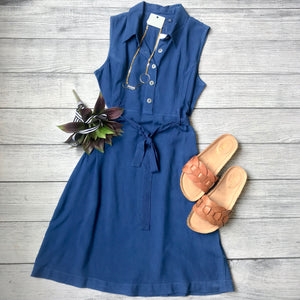 Sleeveless Tie Shirt Dress