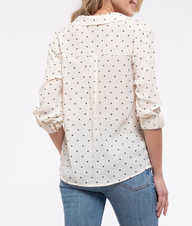 Navy Polka Dot Front Tuck Blouse