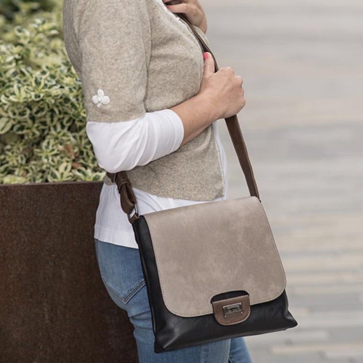 Gray & Black Cross-Body