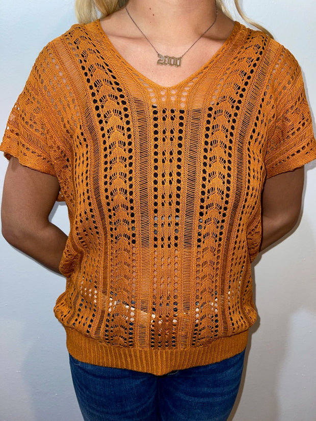 Rust Crochet Lace Back Top