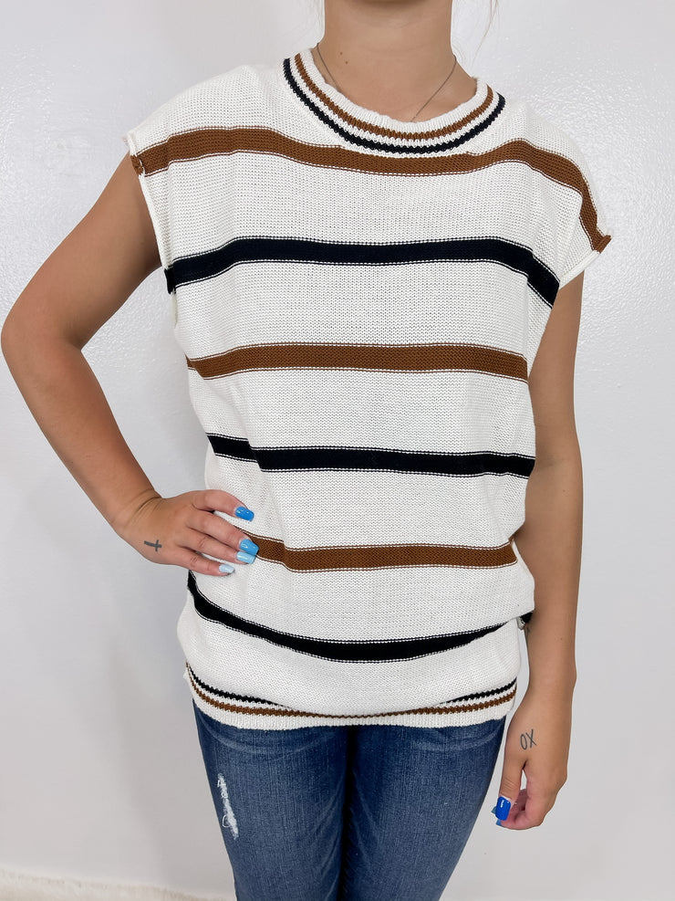 Neutral Striped Short Sleeve Sweater