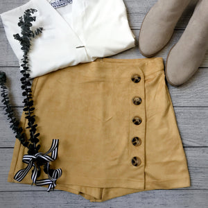 Faux Suede Button Skort