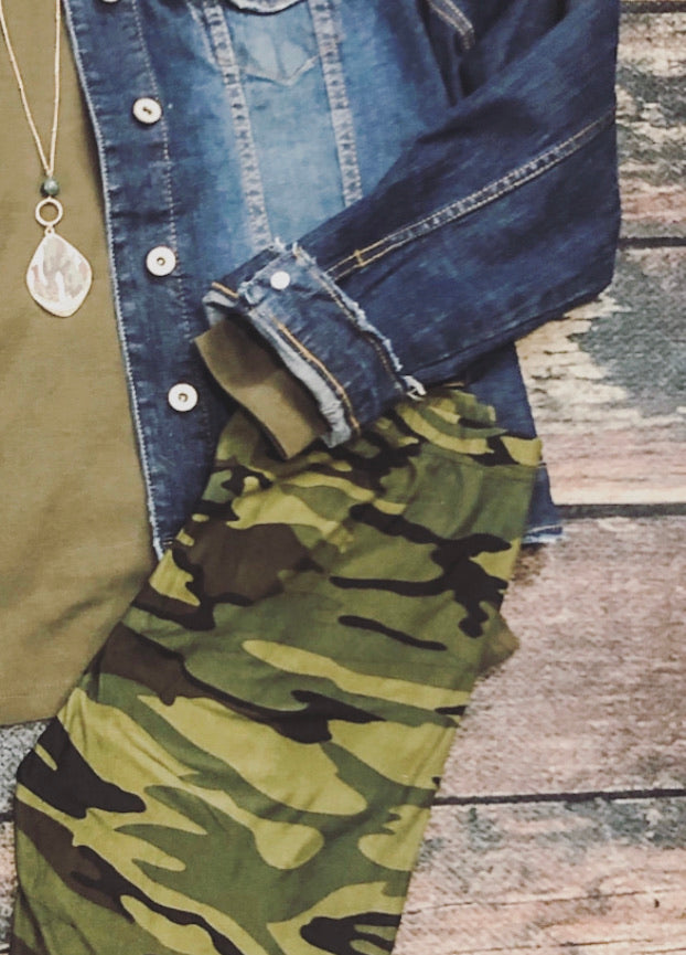 Green Camo Legging One Size