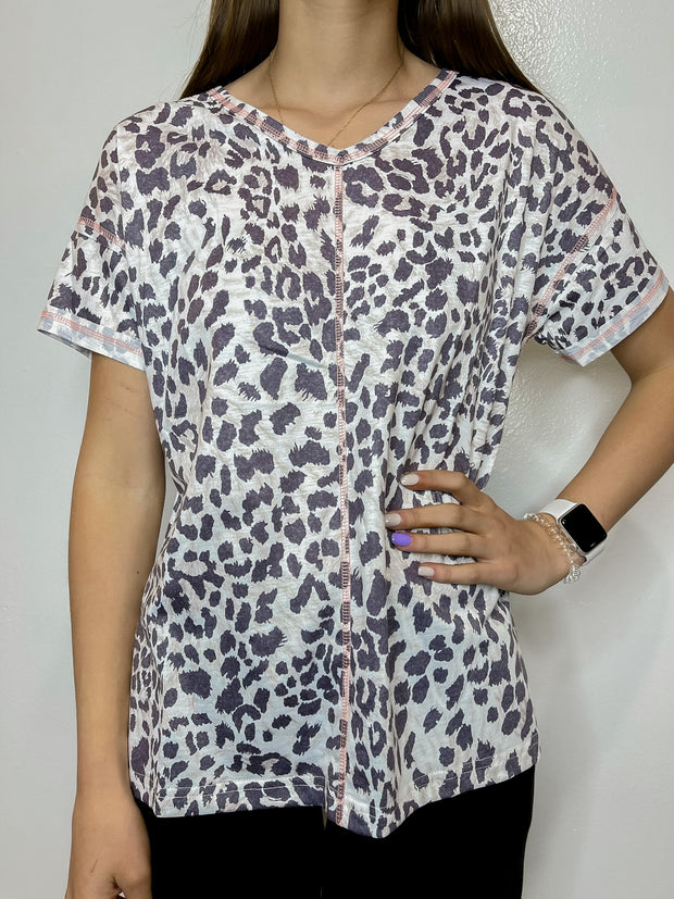 Pink Stitched Leopard Top