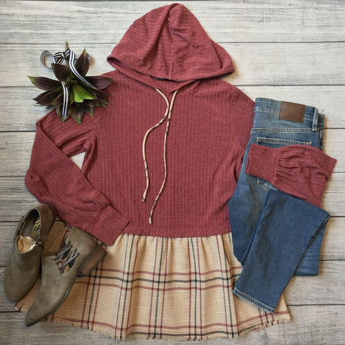 Plaid Ruffled Hooded Top
