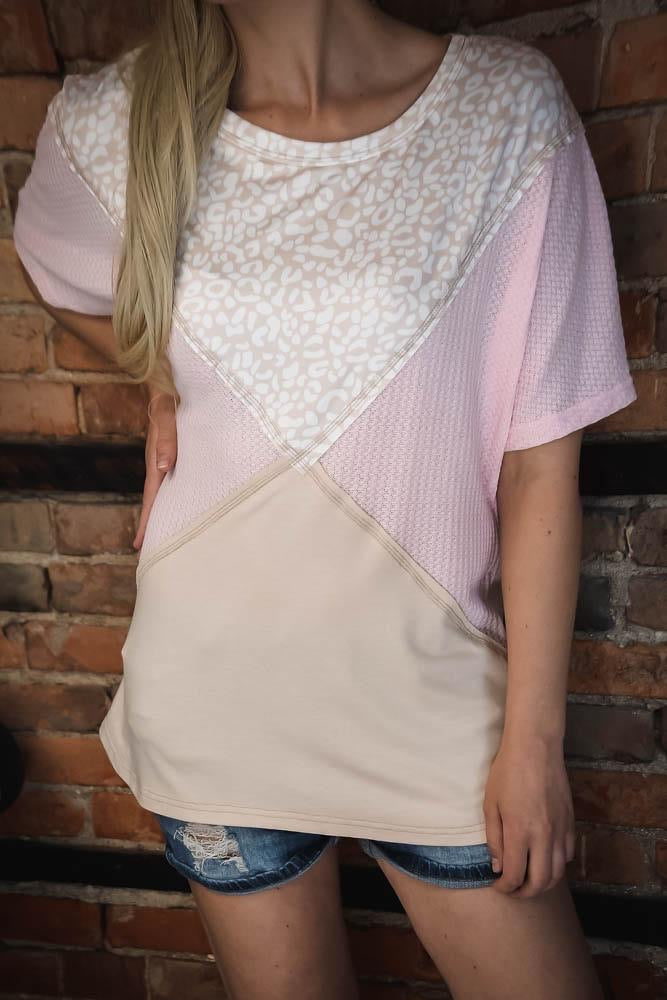 Pink & Leopard Triangle Color Blocked Top S-2X