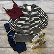 Charcoal Striped Snap Cardigan-Cardigan-Mooi Nu Collection-Small-9Lilas