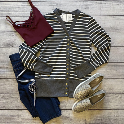 Charcoal Striped Snap Cardigan-Mooi Nu Collection-9Lilas