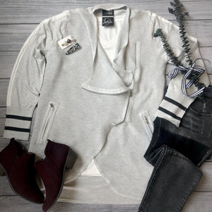 Athletic Stripe Sweater Cardigan