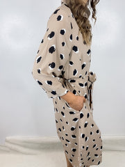 Taupe Leopard Front Tie Shirt Dress or Kimono
