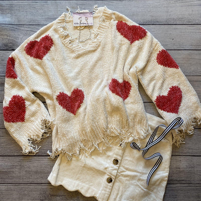Chenille Heart Sweater