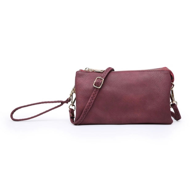 Tri-Zip Crossbody/Wristlet-Purse-Jen & Co.-Maroon-9Lilas