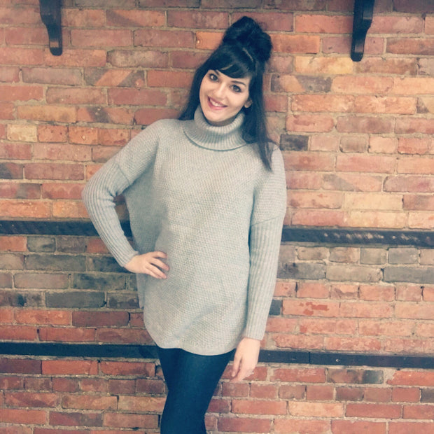 Gray Turtleneck Knit Sweater