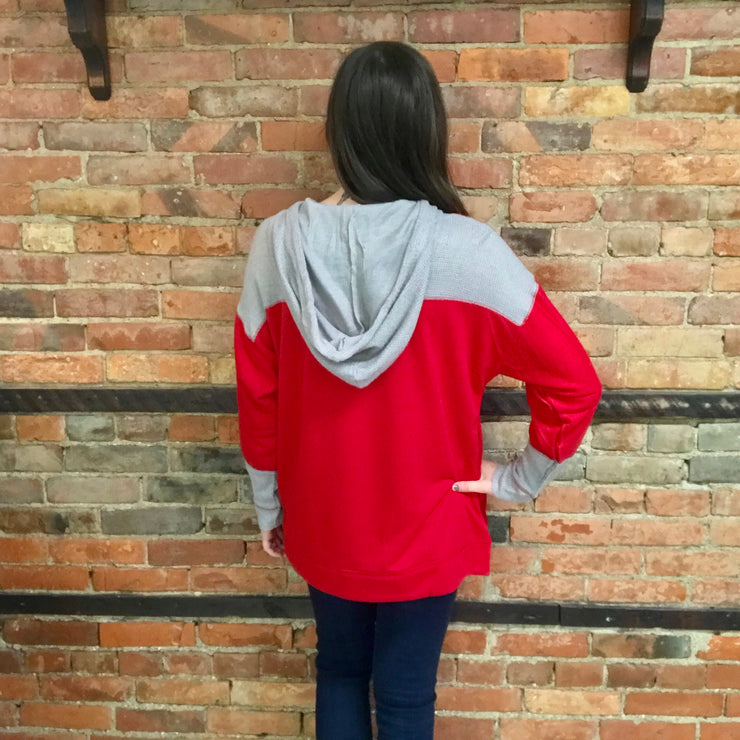 Red and Gray Textured Hoodie