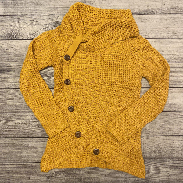 Mustard Button Cowl Sweater