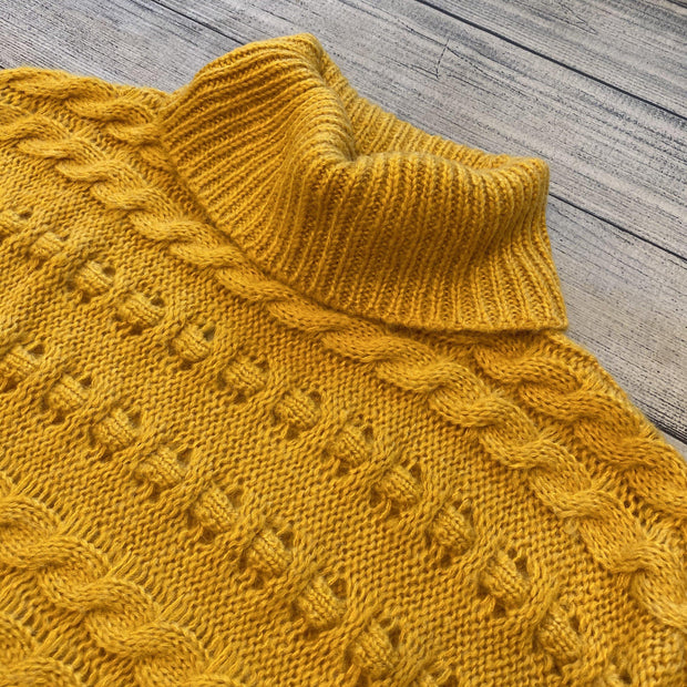 Mustard Knit Cowl Sweater