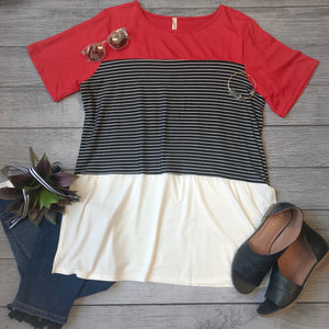 Stripe Contrast Knit Top