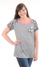 Leopard & Stripe Raglan Top- White S-2X