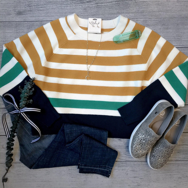Multi Stripe Ribbed Crop Sweater