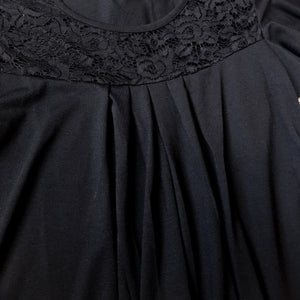 Black Pleated Lace Top
