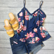 Image of a floral navy tank, yellow sandals, and jean shorts - 9Lilas