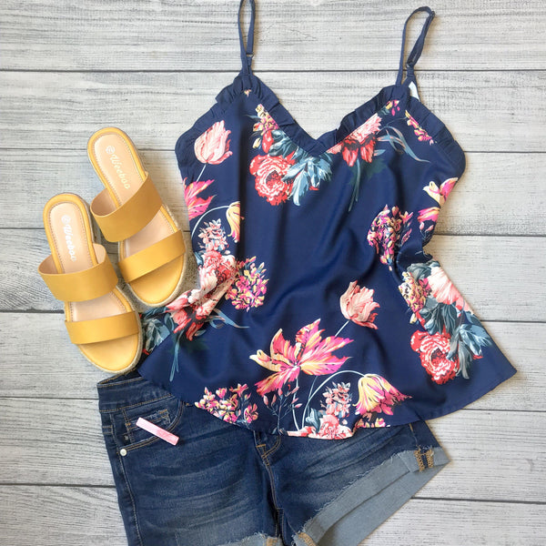 Navy Floral & Ruffle Tank