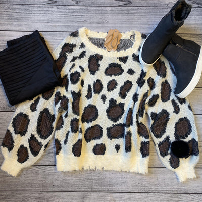 Leopard Puff Sleeve Sweater-Sweater-Umgee-Small-9Lilas