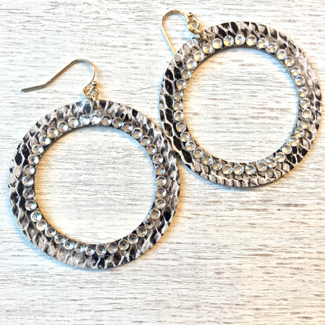 Circle Snake Leather Earrings