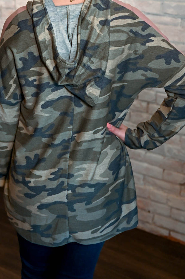 Blush Pink Contrast Camo Hoodie S-3X