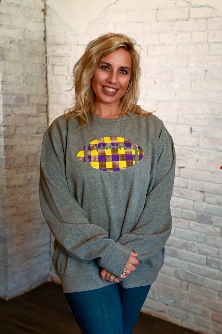 Purple & Yellow Football Sweatshirt- Grey XL-3X