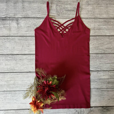 Lattice Front Cami-Wine