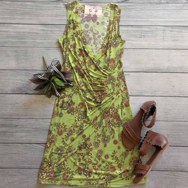 Lime Draped Wrap Dress