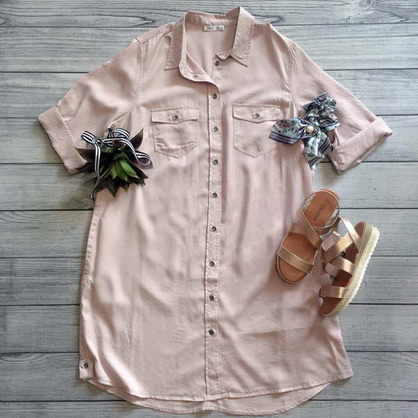 Blush Front Button Tunic