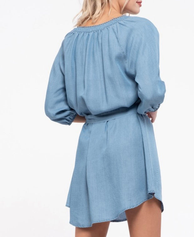 Chambray Front Tie Mini Dress