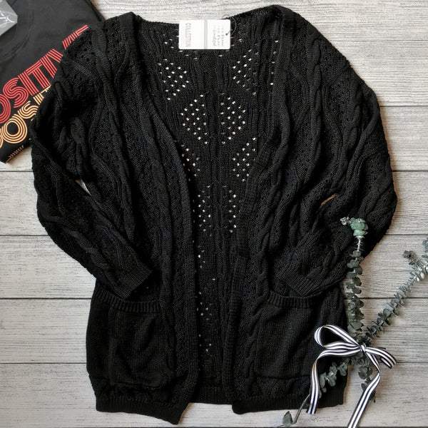 Patterned Knit Sweater Cardigan