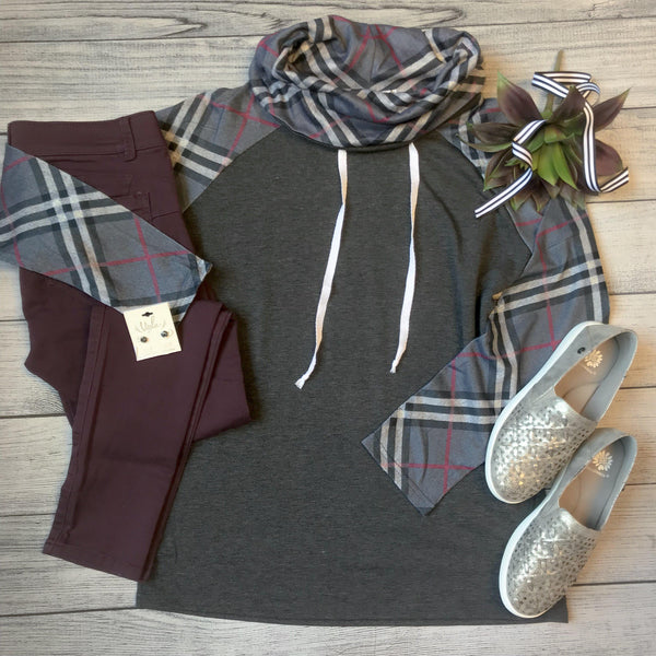 Plaid Cowl Pullover