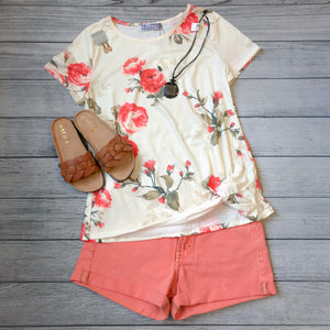 Peaches Floral Knot Top
