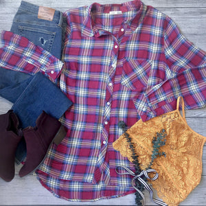 Sangria Plaid Button Down