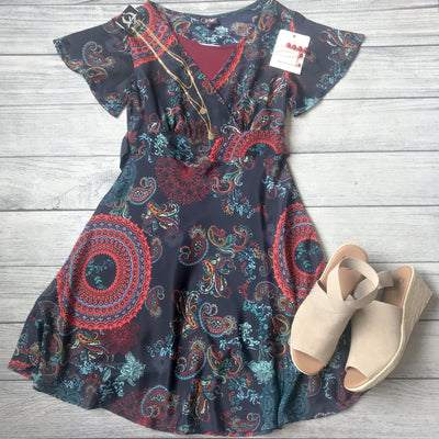Navy Paisley Wrap Dress