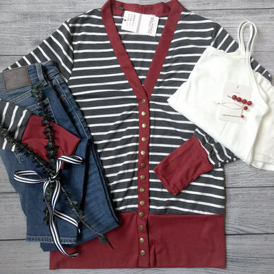 Maroon Striped Snap Cardigan