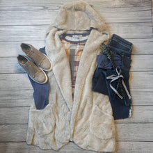 Gray Fuzzy Hooded Vest