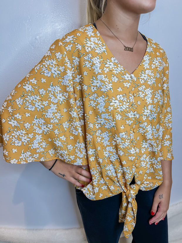 Yellow Floral Flare Sleeve Tie Blouse