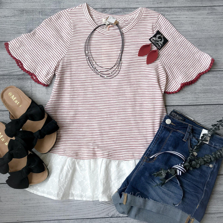 Scalloped Sleeve Striped Top