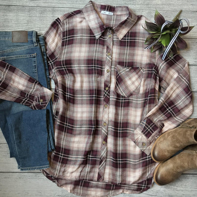 Burgundy Plaid Button Down