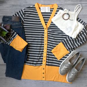 Gold Striped Snap Cardigan