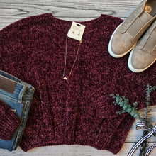 Cropped Plum Chenille Sweater