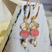 Pearl and Blush Dangle Earrings